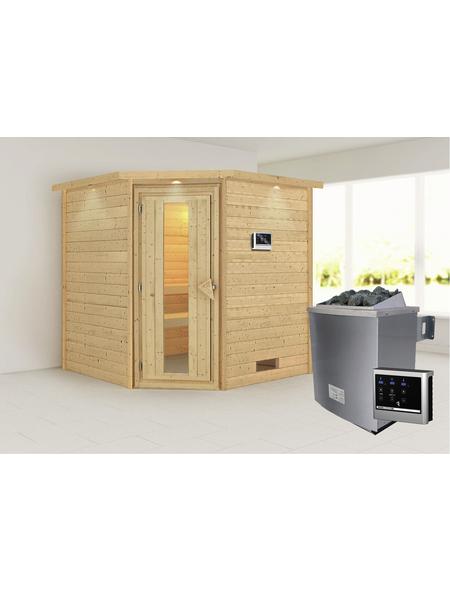 WOODFEELING Sauna »Nina«, BxTxH: 224 x 210 x 210 cm, 9 kw, Saunaofen, ext. Steuerung