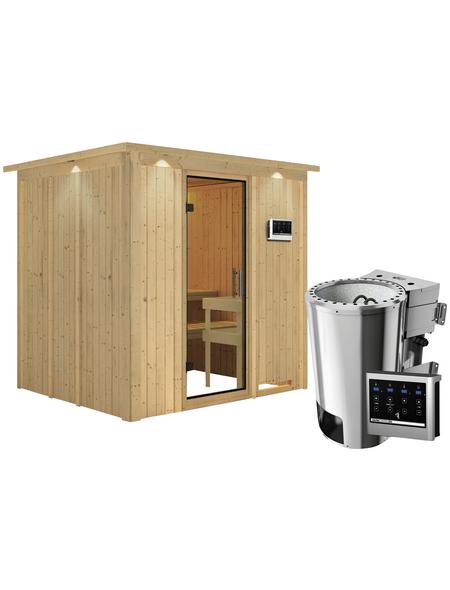 KARIBU Sauna »Olai«, inkl. 3.6 kW Plug&Play-Saunaofen mit externer Steuerung für 3 Personen