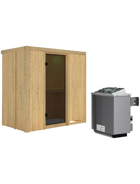 KARIBU Sauna »Pärnu«, BxTxH: 196 x 118 x 118 cm, 9 kw, Saunaofen, int. Steuerung