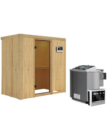 KARIBU Sauna »Pärnu«, inkl. 9 kW Bio-Kombi-Saunaofen mit externer Steuerung für 2 Personen