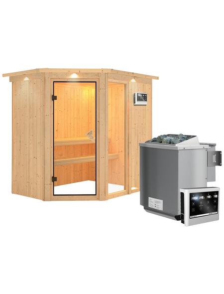KARIBU Sauna »Paide 1«, inkl. 9 kW Bio-Kombi-Saunaofen mit externer Steuerung für 3 Personen