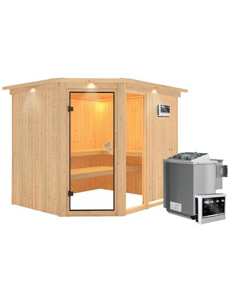 KARIBU Sauna »Paide 3«, inkl. 9 kW Bio-Kombi-Saunaofen mit externer Steuerung für 4 Personen