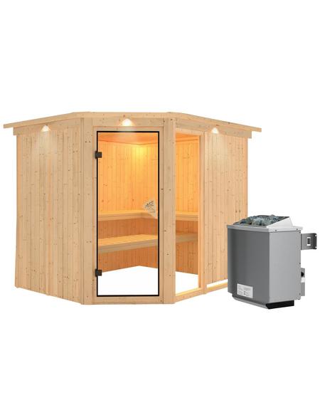 KARIBU Sauna »Paide 3« inkl. 9 kW Saunaofen mit integrierter Steuerung für 4 Personen
