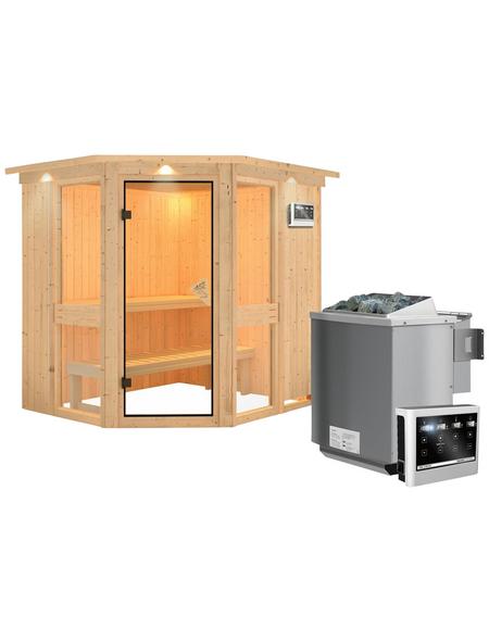 KARIBU Sauna »Pölva 1«, BxTxH: 210 x 184 x 184 cm, 9 kw, Bio-Kombi-Saunaofen, ext. Steuerung