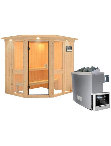 KARIBU Sauna »Pölva 1«, BxTxH: 210 x 184 x 184 cm, 9 kw, Saunaofen, ext. Steuerung