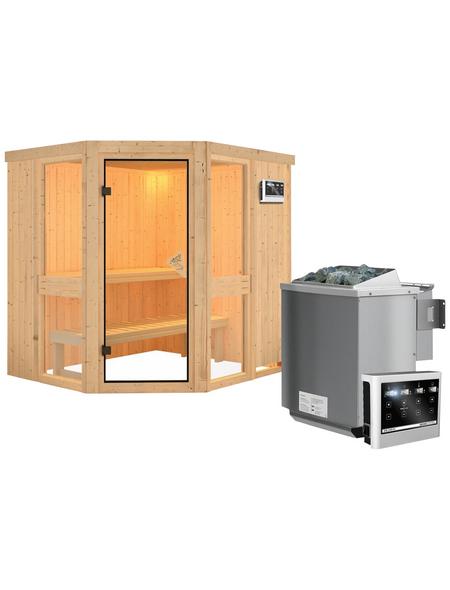 KARIBU Sauna »Pölva 1« inkl. 9 kW Bio-Kombi-Saunaofen mit externer Steuerung für 3 Personen
