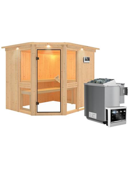 KARIBU Sauna »Pölva 3« inkl. 9 kW Bio-Kombi-Saunaofen mit externer Steuerung für 4 Personen