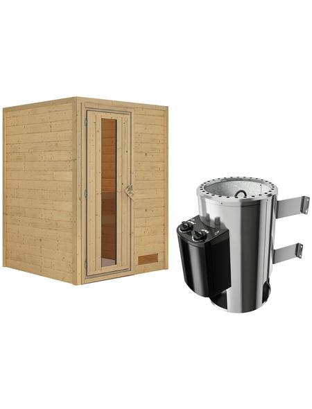 KARIBU Sauna »Prelly«, BxTxH: 146 x 146 x 146 cm, 3,6 kw, Plug&Play-Saunaofen, int. Steuerung