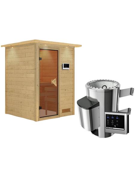 KARIBU Sauna »Prelly«, BxTxH: 174 x 160 x 160 cm, 3,6 kw, Plug&Play-Saunaofen, ext. Steuerung