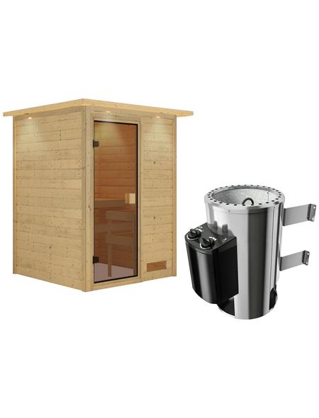 KARIBU Sauna »Prelly«, BxTxH: 174 x 160 x 160 cm, 3,6 kw, Plug&Play-Saunaofen, int. Steuerung