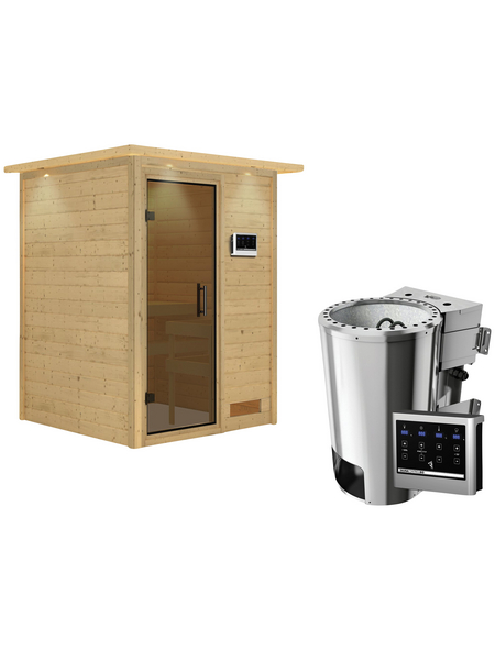 KARIBU Sauna »Prelly« mit Ofen, externe Steuerung