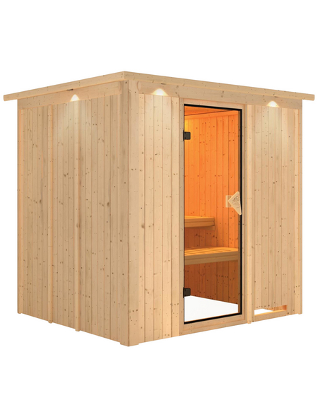 KARIBU Sauna »Rakvere«, BxTxH: 210 x 184 x 202 cm, ohne Saunaofen