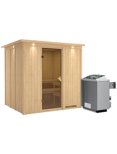 KARIBU Sauna »Rakvere«, inkl. 9 kW Saunaofen mit integrierter Steuerung für 3 Personen