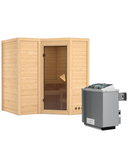 KARIBU Sauna »Riga 1«, BxTxH: 193 x 184 x 184 cm, 9 kw, Saunaofen, int. Steuerung