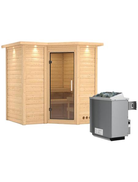 KARIBU Sauna »Riga 1«, BxTxH: 221 x 198 x 198 cm, 9 kw, Saunaofen, int. Steuerung