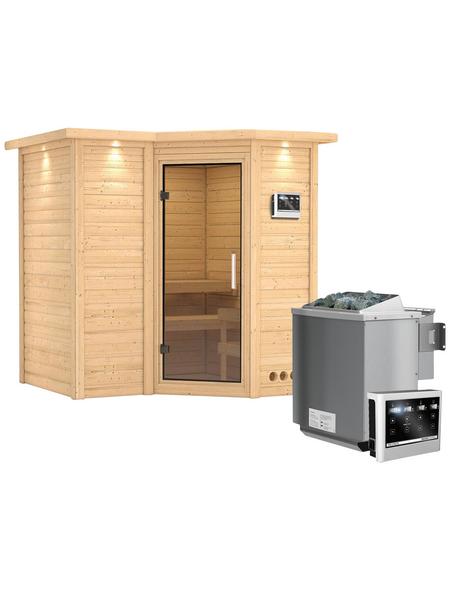 KARIBU Sauna »Riga 1«, inkl. 9 kW Bio-Kombi-Saunaofen mit externer Steuerung für 3 Personen