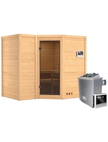 KARIBU Sauna »Riga 2«, BxTxH: 236 x 184 x 184 cm, 9 kw, Saunaofen, ext. Steuerung