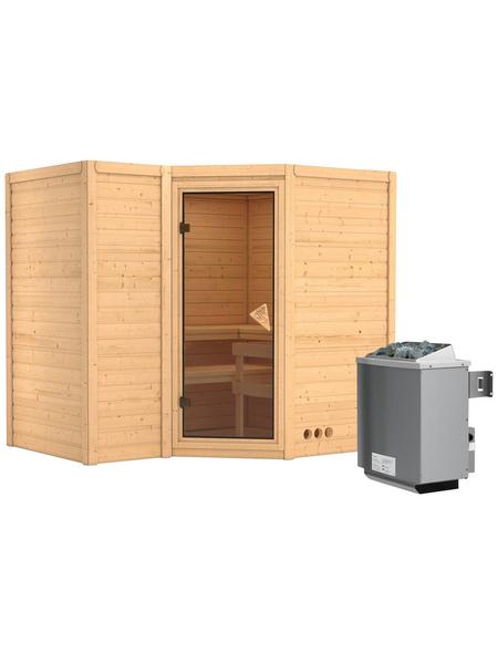 KARIBU Sauna »Riga 2«, BxTxH: 236 x 184 x 184 cm, 9 kw, Saunaofen, int. Steuerung