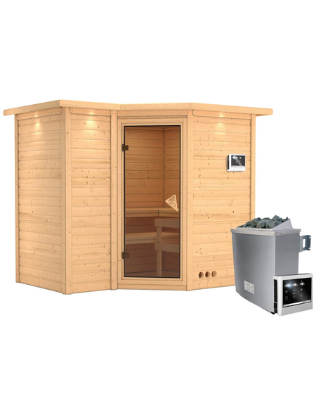KARIBU Sauna »Riga 2«, BxTxH: 264 x 198 x 198 cm, 9 kw, Saunaofen, ext. Steuerung