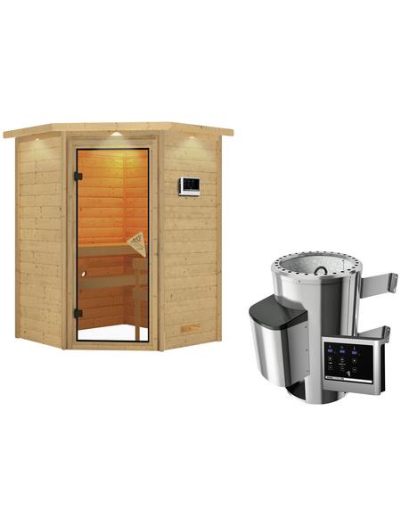 KARIBU Sauna »Rujen«, BxTxH: 174 x 160 x 160 cm, 3,6 kw, Plug&Play-Saunaofen, ext. Steuerung