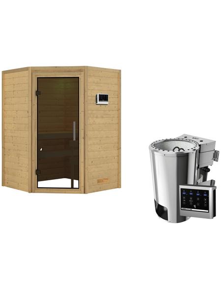 KARIBU Sauna »Rujen« inkl. 3.6 kW Plug&Play-Saunaofen mit externer Steuerung für 3 Personen