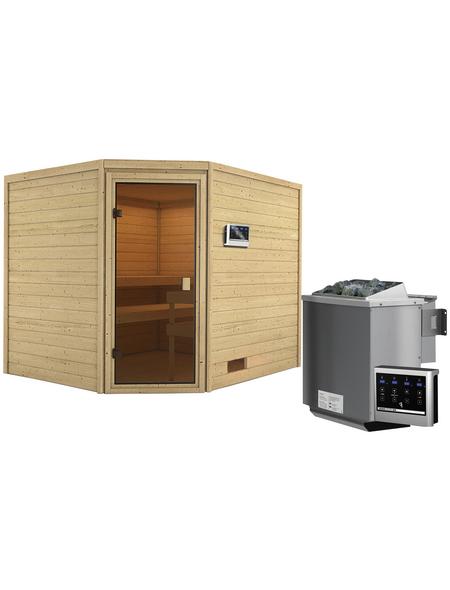 WOODFEELING Sauna »Sareen«, inkl. 4.5 kW Bio-Kombi-Saunaofen mit externer Steuerung für 4 Personen