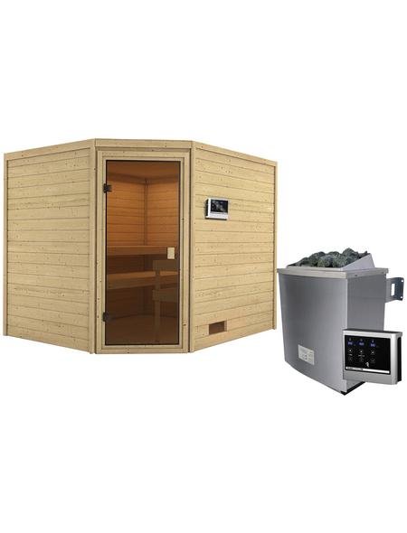 WOODFEELING Sauna »Sareen«, inkl. 4.5 kW Saunaofen mit externer Steuerung für 4 Personen