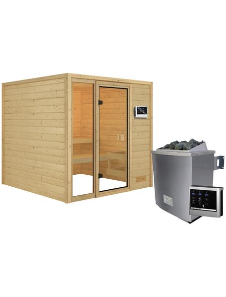 WOODFEELING Sauna »Senja«, BxTxH: 196 x 196 x 196 cm, 4,5 kw, Saunaofen, ext. Steuerung