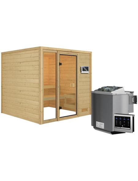 WOODFEELING Sauna »Senja«, inkl. 4.5 kW Bio-Kombi-Saunaofen mit externer Steuerung für 4 Personen