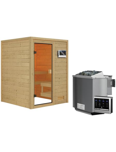 WOODFEELING Sauna »Siljana«, inkl. 4.5 kW Bio-Kombi-Saunaofen mit externer Steuerung für 4 Personen