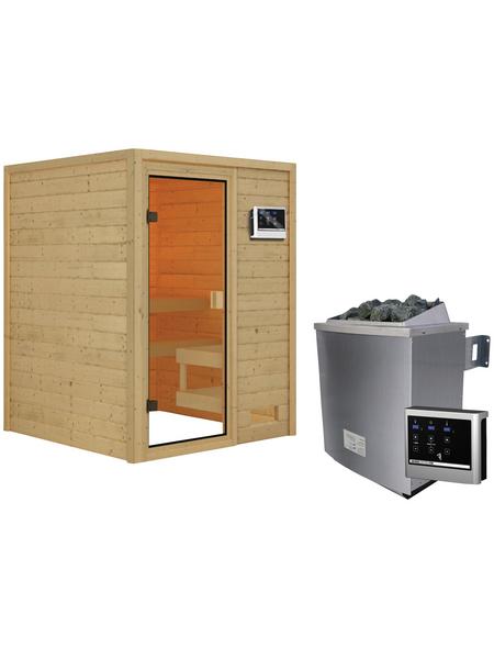 WOODFEELING Sauna »Siljana«, inkl. 4.5 kW Saunaofen mit externer Steuerung für 4 Personen