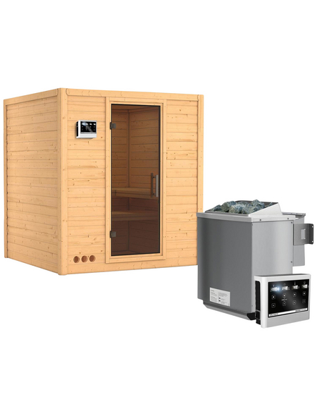 KARIBU Sauna »Sindi«, BxTxH: 193 x 184 x 184 cm, 9 kw, Bio-Kombi-Saunaofen, ext. Steuerung