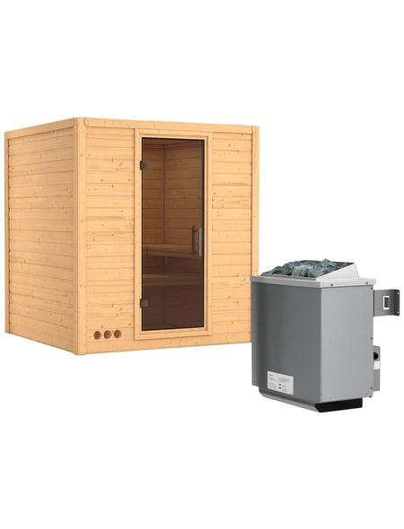 KARIBU Sauna »Sindi«, BxTxH: 193 x 184 x 184 cm, 9 kw, Saunaofen, int. Steuerung