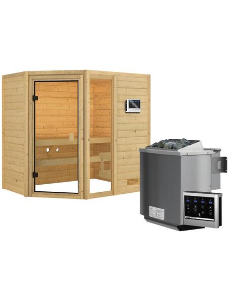 WOODFEELING Sauna »Skadi«, inkl. 4.5 kW Bio-Kombi-Saunaofen mit externer Steuerung für 4 Personen