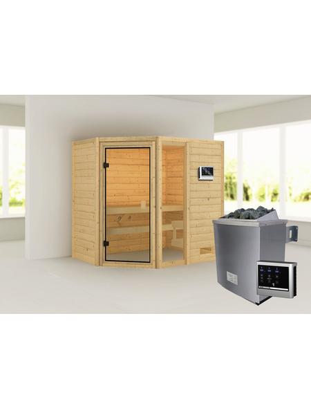 WOODFEELING Sauna »Skadi«, inkl. 4.5 kW Saunaofen mit externer Steuerung für 4 Personen