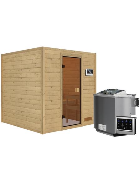 WOODFEELING Sauna »Skadia«, inkl. 4.5 kW Bio-Kombi-Saunaofen mit externer Steuerung für 4 Personen