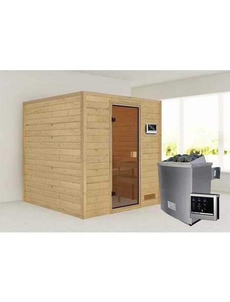 WOODFEELING Sauna »Skadia«, inkl. 4.5 kW Saunaofen mit externer Steuerung für 4 Personen