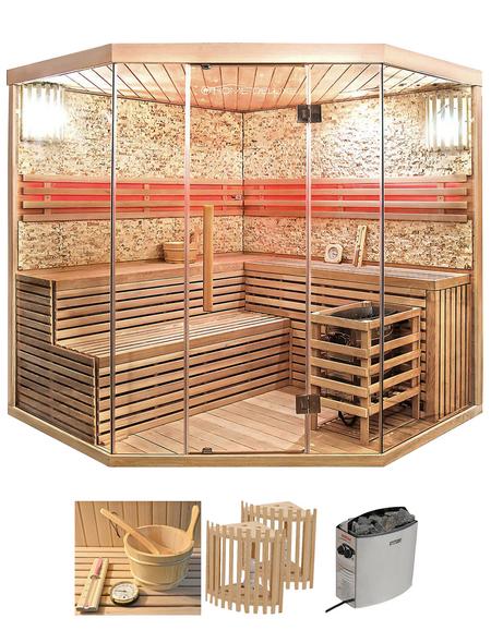 HOME DELUXE Sauna »Skyline XL BIG Kunststeinwand« inkl. 8 kW Saunaofen mit integrierter Steuerung für 6 Personen