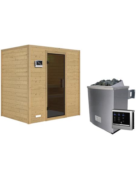WOODFEELING Sauna »Sonja«, BxTxH: 196 x 146 x 146 cm, 9 kw, Saunaofen, ext. Steuerung