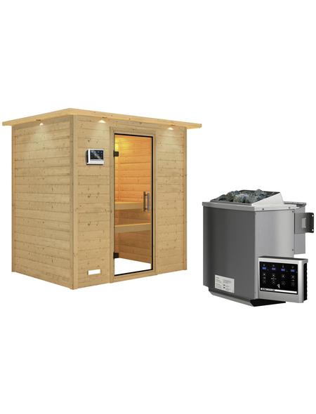 WOODFEELING Sauna »Sonja«, BxTxH: 224 x 160 x 160 cm, 9 kw, Bio-Kombi-Saunaofen, ext. Steuerung