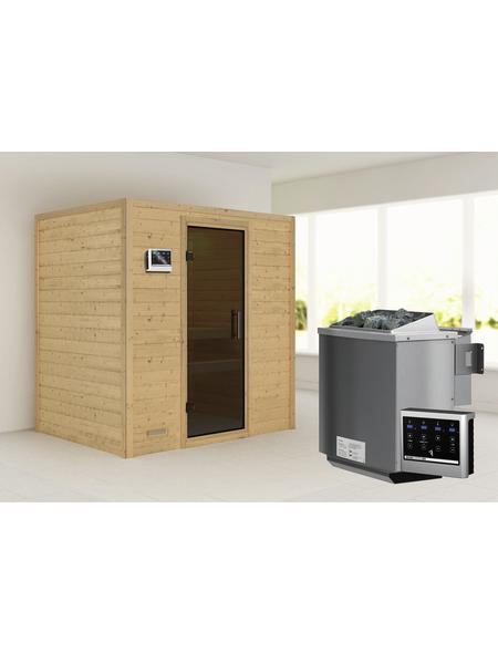WOODFEELING Sauna »Sonja«, inkl. 9 kW Bio-Kombi-Saunaofen mit externer Steuerung für 3 Personen