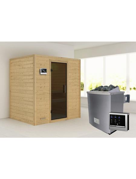 WOODFEELING Sauna »Sonja«, inkl. 9 kW Saunaofen mit externer Steuerung für 3 Personen