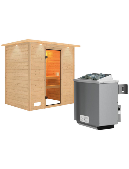 WOODFEELING Sauna »Sonja«, inkl. 9 kW Saunaofen mit integrierter Steuerung für 3 Personen