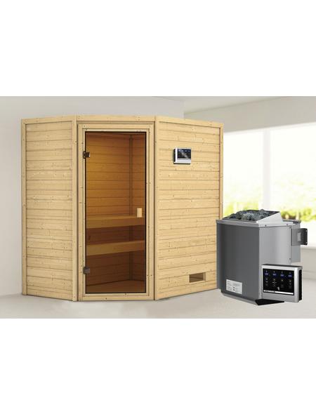 WOODFEELING Sauna »Sunniva«, inkl. 4.5 kW Bio-Kombi-Saunaofen mit externer Steuerung für 4 Personen