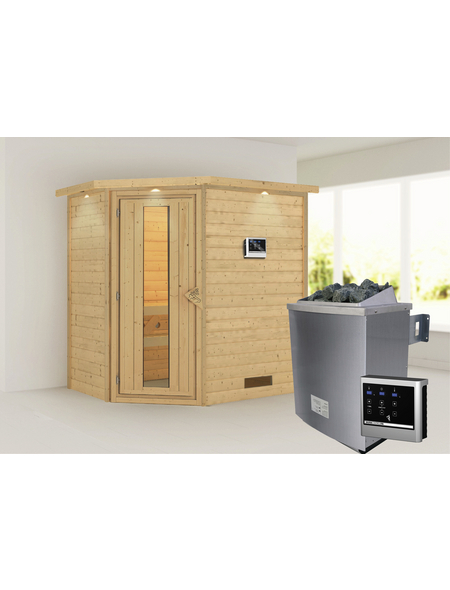 WOODFEELING Sauna »Svea«, BxTxH: 224 x 160 x 160 cm, 9 kw, Saunaofen, ext. Steuerung