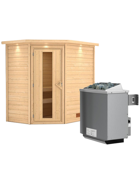 WOODFEELING Sauna »Svea«, BxTxH: 224 x 160 x 160 cm, 9 kw, Saunaofen, int. Steuerung