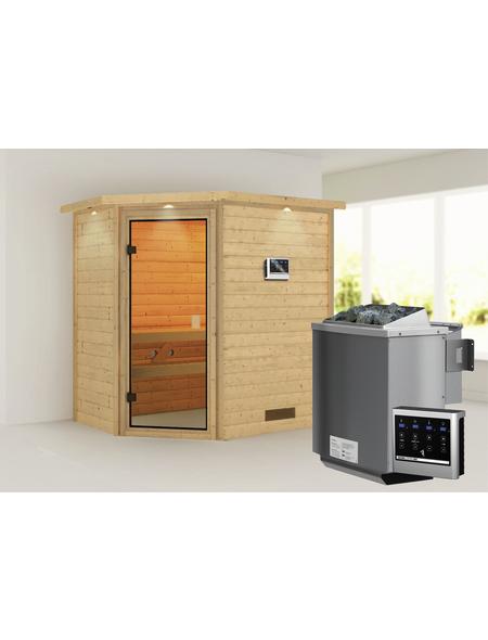 WOODFEELING Sauna »Svea«, inkl. 9 kW Bio-Kombi-Saunaofen mit externer Steuerung für 3 Personen
