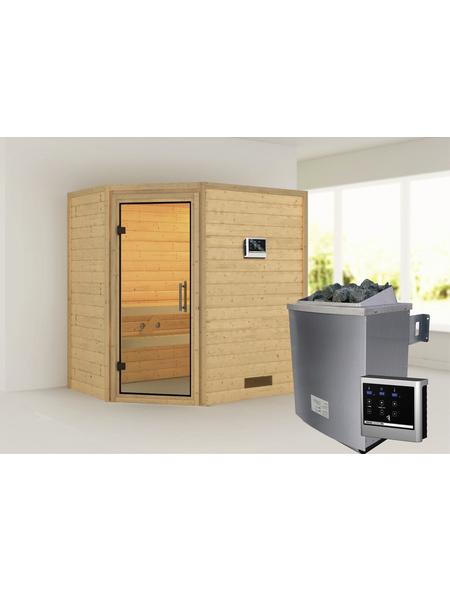 WOODFEELING Sauna »Svea«, inkl. 9 kW Saunaofen mit externer Steuerung für 3 Personen