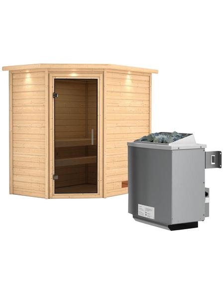 WOODFEELING Sauna »Svea«, inkl. 9 kW Saunaofen mit integrierter Steuerung für 3 Personen