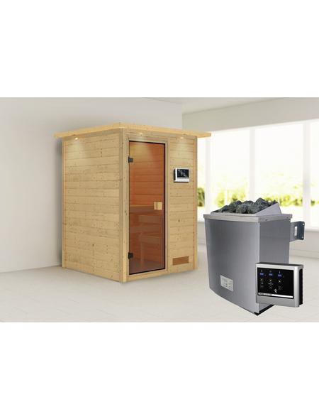 WOODFEELING Sauna »Svenja«, BxTxH: 174 x 160 x 160 cm, 9 kw, Saunaofen, ext. Steuerung